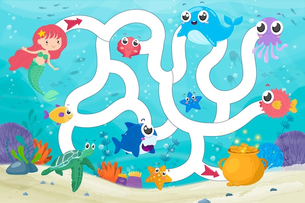 Ilustração de labirinto para crianças