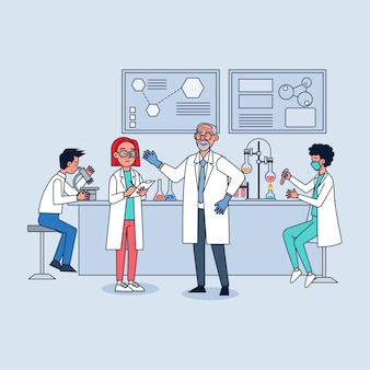 Ilustração de laboratório de pesquisa científica