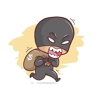 Ilustração de ladrão fofo