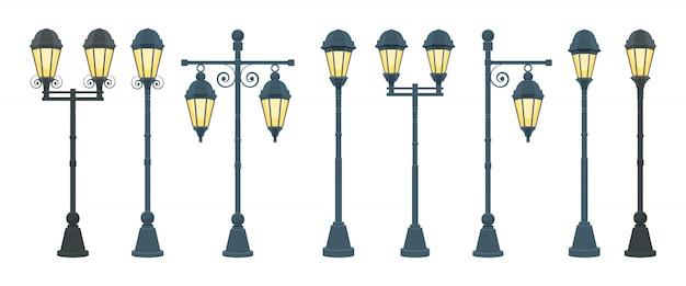 Ilustração de lâmpada de rua vintage isolada no fundo branco