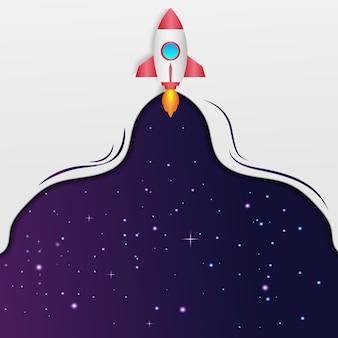 Ilustração de lançamento de foguete com fundo de espaço para seu texto