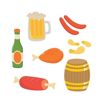 Ilustração de lanche e cerveja