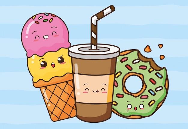 Ilustração de lanches fofos kawaii fast-food