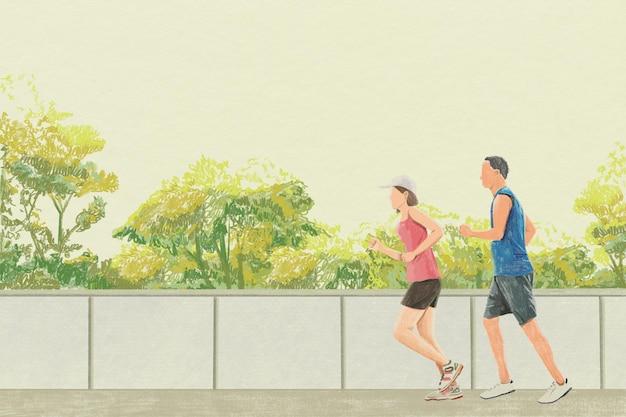 Ilustração de lápis de cor de exercício ao ar livre com fundo de corrida