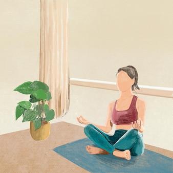 Ilustração de lápis de cor de fundo de ioga e relaxamento