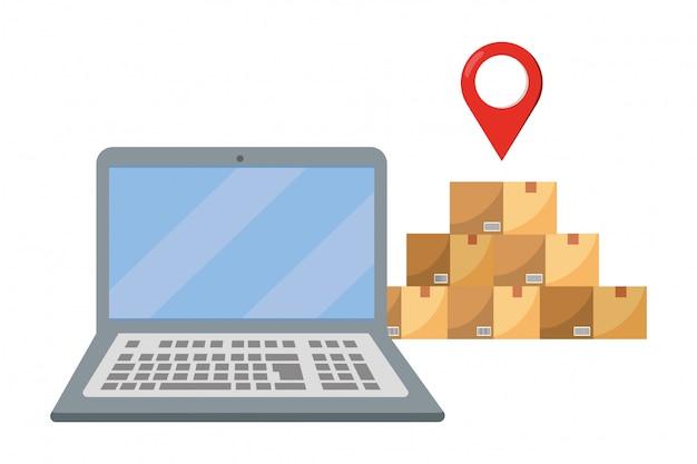 Ilustração de laptop e caixas
