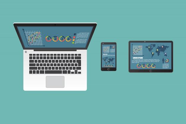 Ilustração de laptop, tablet e smartphone de negócios