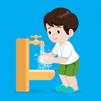 Ilustração de lavagem das mãos