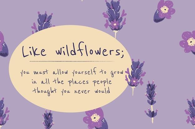 Ilustração de lavanda do modelo de banner floral lindo com citações inspiradoras