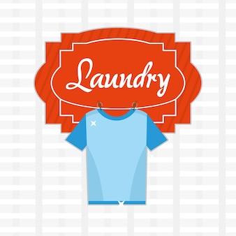 Ilustração de lavanderia com camiseta limpa pendurada