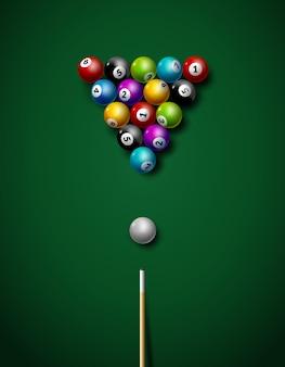 Ilustração de lazer de competição de esporte de jogo de bilhar.