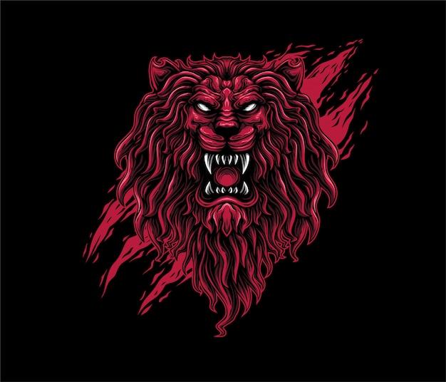 Ilustração de leão agressivo