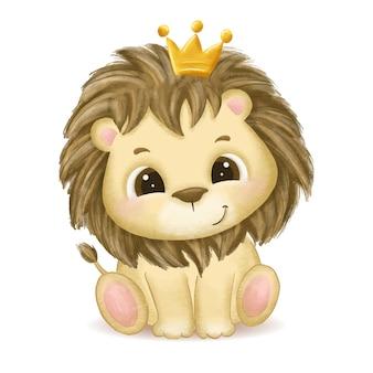 Ilustração de leão bebê fofo desenhado à mão