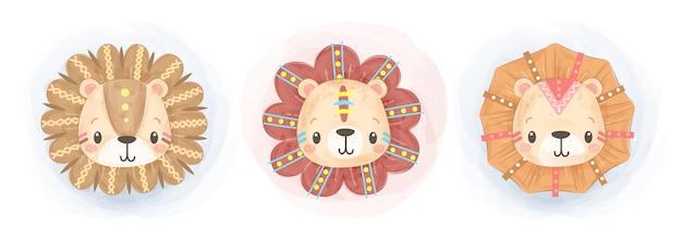 Ilustração de leão boho aquarela bonito