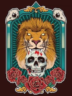 Ilustração de leão com caveira e fundo de quadro heráldico