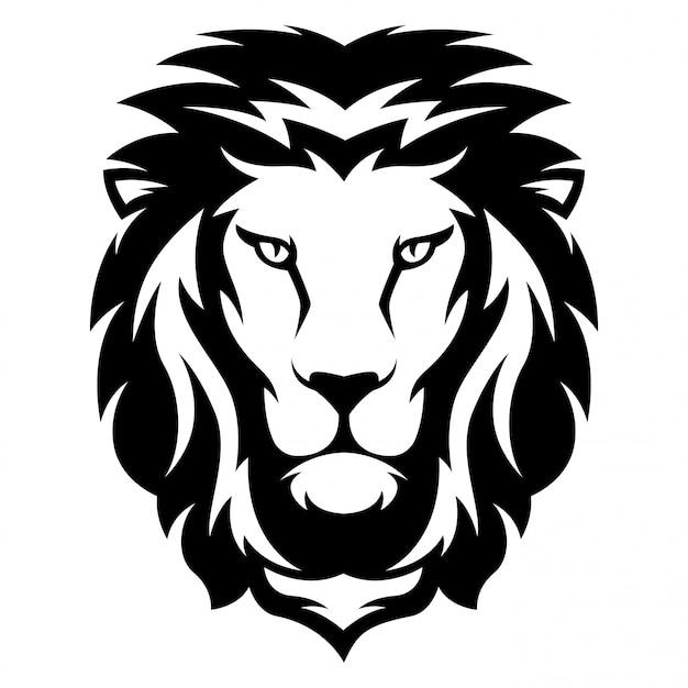 Ilustração, de, leão, com, preto branco, estilo