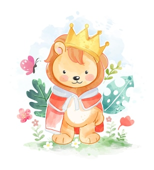 Ilustração de leãozinho fofo com coroa de ouro