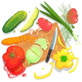 Ilustração de legumes de corte, com tábua e culturas frescas