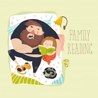 Ilustração de leitura de família