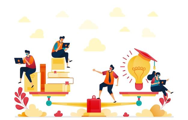 Ilustração de leitura e idéias. pilhas de livros. lâmpadas, inspiração e educação.