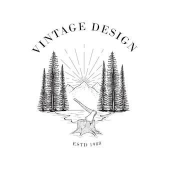Ilustração de lenhador e floresta