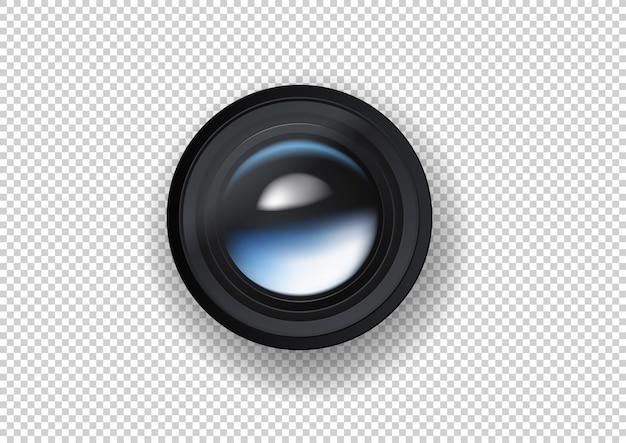Ilustração de lente de câmera de foto em fundo escuro