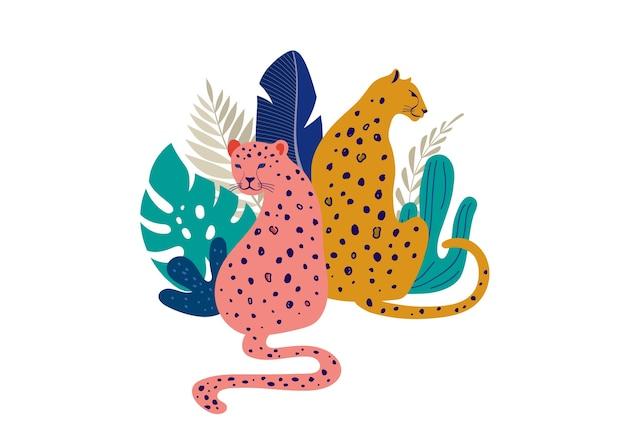 Ilustração de leopardos com folhas tropicais