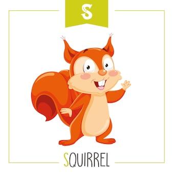Ilustração de letra do alfabeto s e esquilo