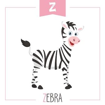 Ilustração de letra do alfabeto z e zebra