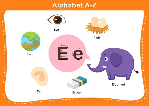 Ilustração de letra e do alfabeto