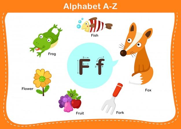 Ilustração de letra f do alfabeto