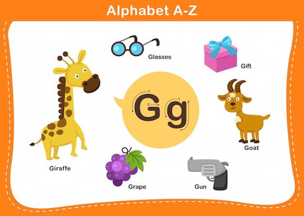 Ilustração de letra g do alfabeto