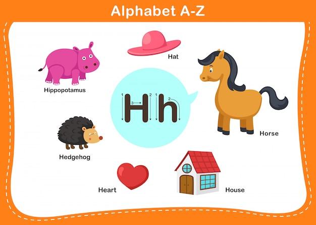 Ilustração de letra h do alfabeto