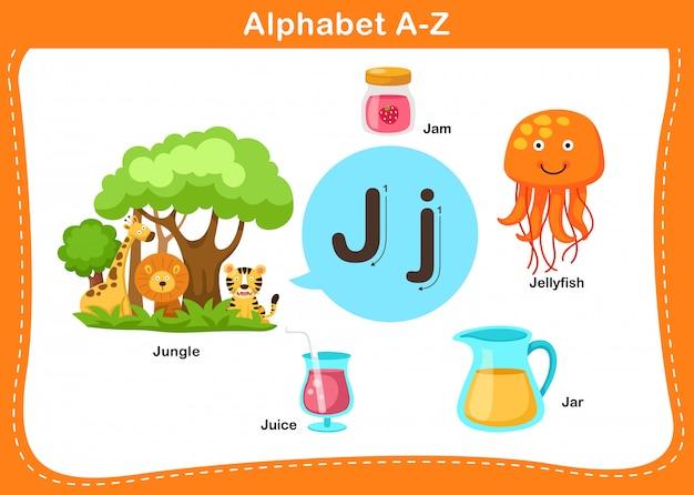 Ilustração de letra j do alfabeto