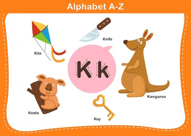 Ilustração de letra k do alfabeto