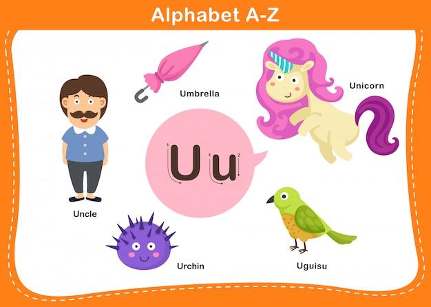 Ilustração de letra u do alfabeto