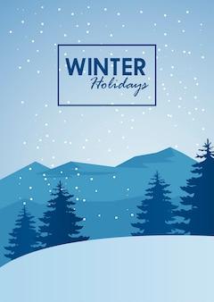 Ilustração de letras e cena de paisagem de inverno de beleza azul