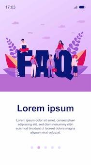 Ilustração de letras gigantes do faq