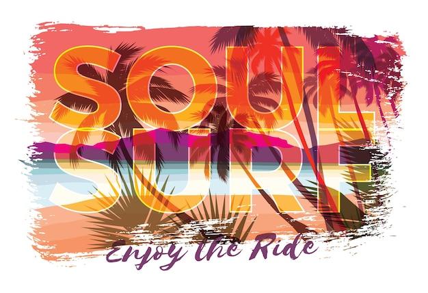 Ilustração de letras soul surf com praia e palmeiras