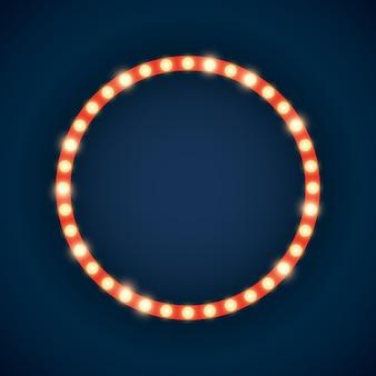 Ilustração de letreiro luminoso em forma de círculo