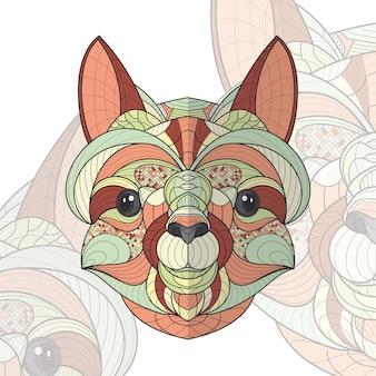 Ilustração de lhama com coloração animal estilizada em zentangle Vetor Premium