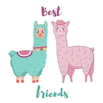 Ilustração de lhama fofo bonito dos desenhos animados e alpaca. melhores amigos.