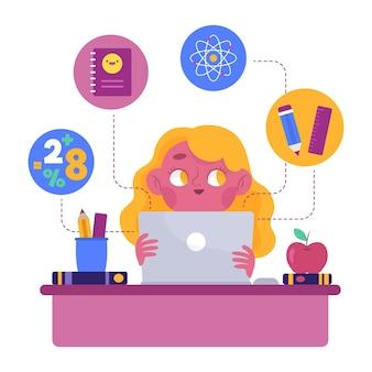 Ilustração de lições on-line de crianças