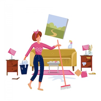Ilustração de limpeza da casa