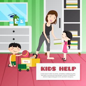 Ilustração de limpeza de criança