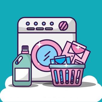 Ilustração de limpeza de roupa com máquina de lavar roupa