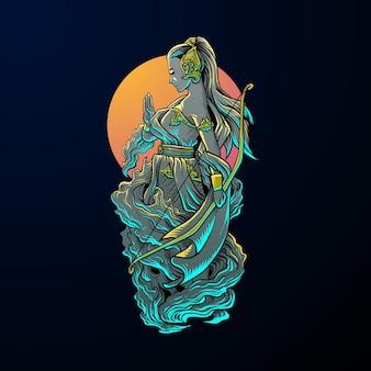 Ilustração de linda fantasia de heroína no escuro