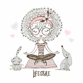 Ilustração de linda garota com cachos sentado na posição de lótus