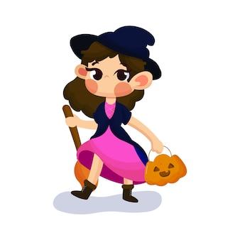 Ilustração de linda garota com fantasia de mago no halloween