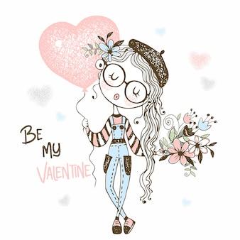 Ilustração de linda garota com um balão em forma de um coração e um buquê de flores
